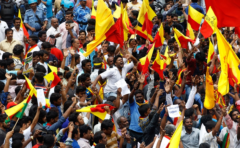 Members of various pro-Kannada organisations in Bangalore assembled to protest against this directive. AP