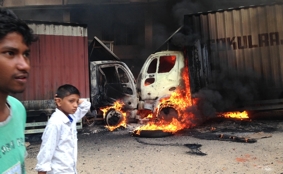 Over 40 buses at the KPN bus depot and many other vehicles in Bengaluru were set on fire.AP