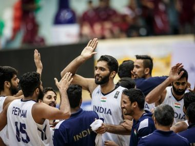 Indian basketball team celebrate after their win against China. India Basketball/Twitter