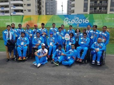 The Indian contingent for Paralympics 2016 in Rio. Image courtesy: Twitter/@AmitParalympian