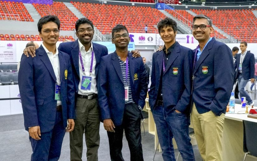 The Indian Men team, who creditably held the top seeded Russia in the penultimate round (L to R) Pentala Harikrishna, Baskaran Adhiban, SP Sethuraman, Vidit Gujrathi, and non-playing Captain RB Ramesh. Image Courtesy: Paul Truong/Firstpost