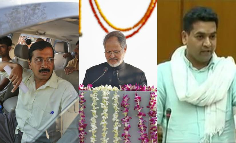 (L to R) Arvind Kejriwal, Najeeb Jung and Kapil Mishra