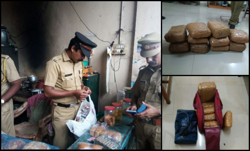(L to R) Excise team conducting raid at a shop in Kochi. Seized drugs at Aluva railway station