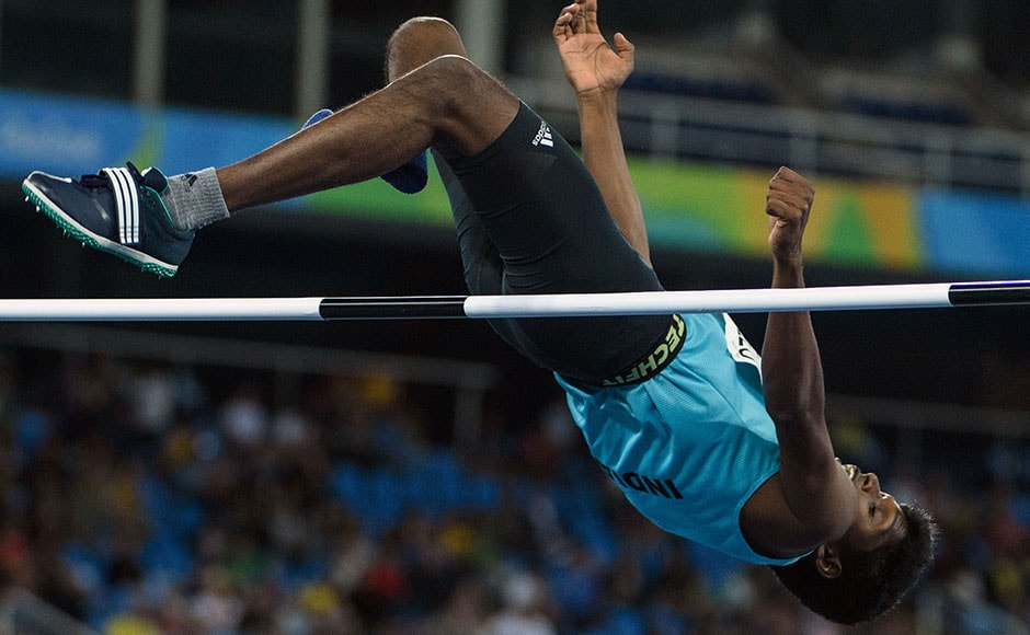 India's Mariyappan Thangavelu jumps in the men's final high jump. He created history by winning the gold medal in the event. AFP