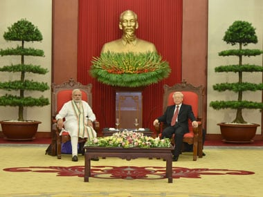 Prime Minister Narendra Modi meeting the General Secretary of the Communist Party of Vietnam Nguyen Phu Trong, at Communist Party Headquarters, in Hanoi, Vietnam on 3 September, 2016. Image courtesy PIB