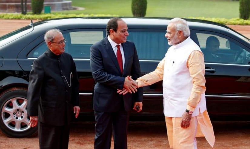 Narendra Modi meets Abdel Fattah Saeed Hussein Khalil el Sisi. Reuters