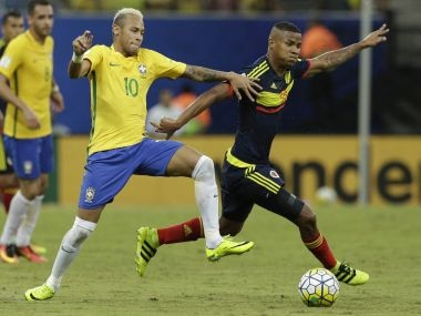 Brazil's Neymar during a 2018 World Cup qualifying soccer match. AP
