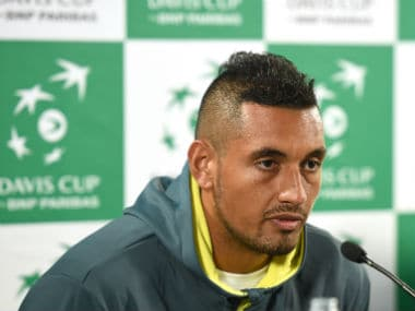 Nick Kyrgios speaks to journalists at the Davis Cup press conference in Sydney. AFP