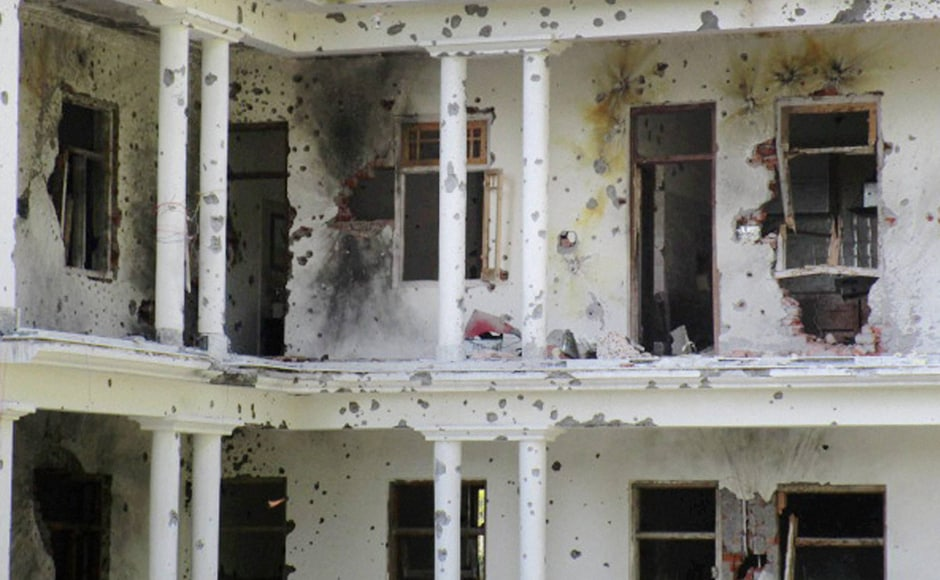 On Tuesday, security forces continued to be engaged in an encounter with militants, for the third day in Poonch, Kashmir. A Bullet riddled Haji Nazir Mir building can be seen where terrorists were hiding during the 2nd day of encounter at Allah Pir area in Poonch on Monday. PTI