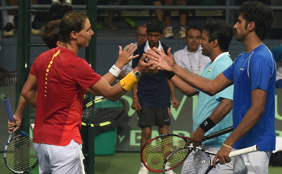 India's Leander Paes and Saketh Myneni lost 6-4 6-7(2) 4-6 4-6 but not without a brave fight that tested the Rio Olympic gold medallists Rafael Nadal and Marc Lopez, for three hours and 23 minutes.