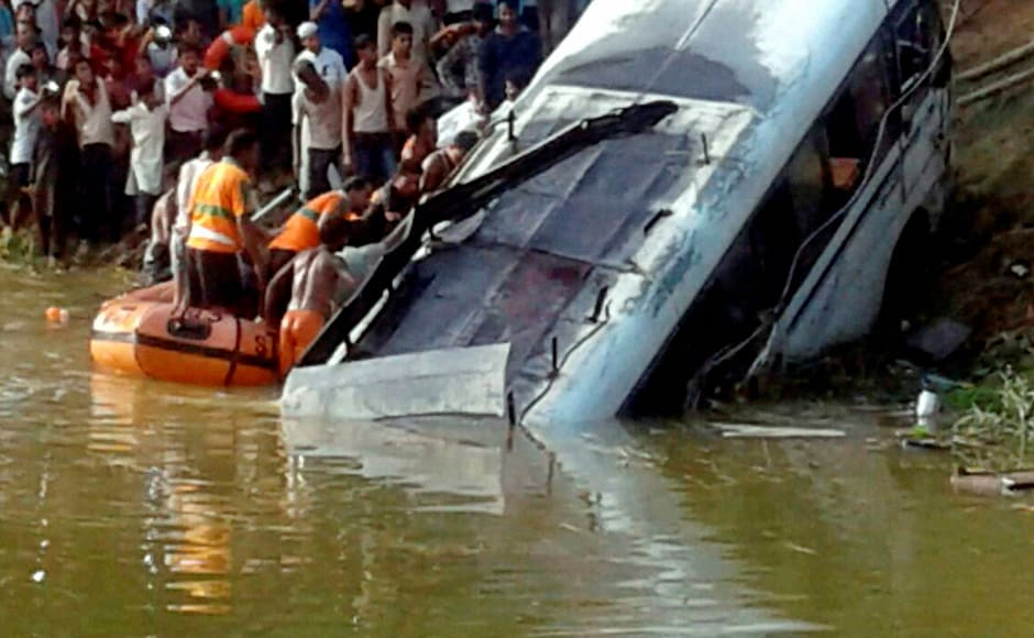 At least 35 were killed — including 11 children — when a bus fell into a roadside pond in Bihar's Madhubani district on Monday. PTI