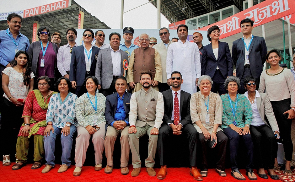 India's former test captains pose for a group photo with dignitaries after a felicitation to mark the 500th cricket test of the team in Kanpur on Thursday. PTI Photo (PTI9_22_2016_000095B)
