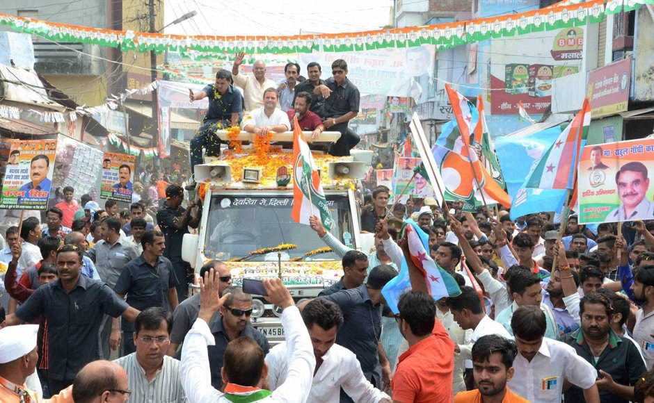 Congress vice-president Rahul Gandhi during a road show in Bareilly, as part of Congress' campaign for the 2017 Uttar Pradesh polls, accused Prime Minister Narendra Modi of making cows an election stunt. Photo: PTI