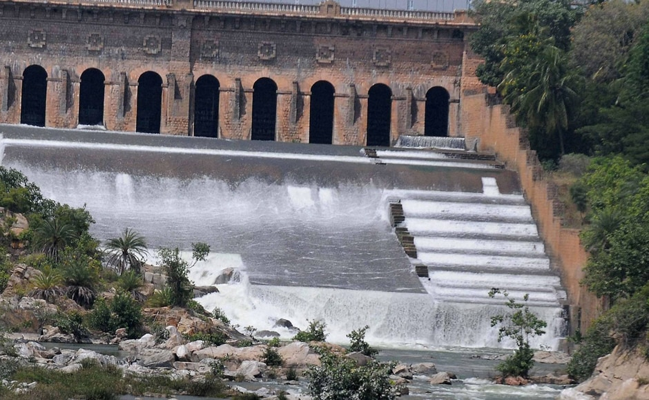 Farmers were protesting against the Supreme Court's directive to release 15,000 cusecs of water per day for next ten days to the neighbouring state. A view of the Krishnarajasagar Dam in Mysuru. Photo: PTI