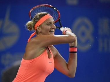 Petra Kvitova in action against Simona Halep at the WTA Wuhan Open. AFP