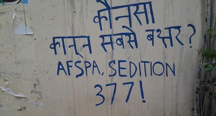 Graffiti on Kashmir, Bastar issue on the walls of Ambedkar University. Firstpost/ Kangkan Acharyya