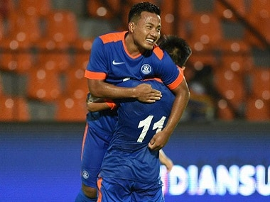 India's football players celebrate a goal against Puerto Rico. PTI