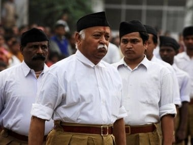 RSS chief Mohan Bhagwat with other RSS members. AFP
