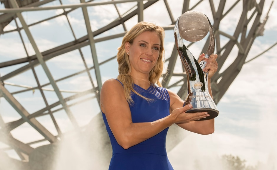Angelique Kerber poses with the WTA World No 1 Trophy at the Unisphere on day fourteen of the 2016 US Open. Kerber's final win catapulted her above Serena Williams in the women's ranking. Susan Mullane-USA TODAY Sports