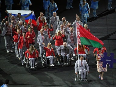 Athletes from Belarus take part in the opening ceremony. Reuters