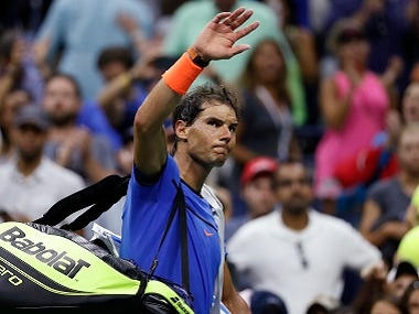 Rafael Nadal of Spain waves to fans after losing to Lucas Pouille at the US Open tennis. AP