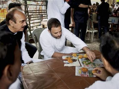 Congress vice-president Rahul Gandhi with Ghulam Nabi Azad in UP's Azamgarh on Sunday. PTI