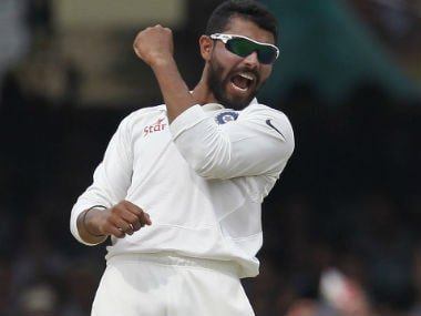 Ravindra Jadeja recorded figures of 5 for 95 to bowl India Red out for 385. AFP