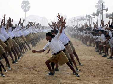 Representational image of RSS members. PTI