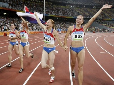 File photo of Russia's relay team celebrating winning the gold at the Beijing 2008 Olympics in Beijing. AP