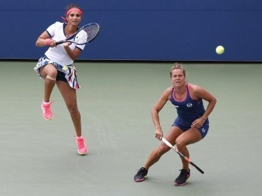 File picture of Sania Mirza in action with her doubles partner Barbora Strycova. AP