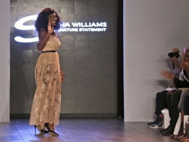 Serena Williams greets the crowd after showing her Serena Williams Signature Statement Spring 2017 collection. AP