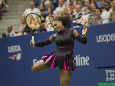 Serena Williams reacts after a successful point during the US Open 2016. AFP