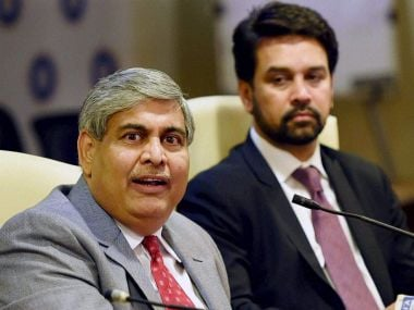 File photo of  Shashank Manohar and Anurag Thakur. PTI