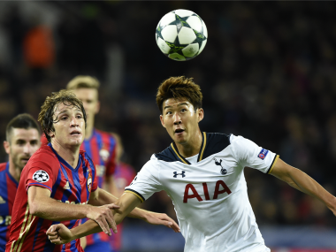 Tottenham Hotspur's Son Heung-Min vies with Mario Fernandes during their Champions League match against CSKA Moscow. AFP