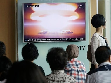"People watch a TV news program reporting North Korea's nuclear test at Seoul Railway Station in Seoul, South Korea, Friday, Sept. 9, 2016. North Korea said Friday it conducted a ""higher level"" nuclear warhead test explosion, which it trumpeted as finally allowing it to build ""at will"" an array of stronger, smaller and lighter nuclear weapons. It is Pyongyang's fifth atomic test and the second in eight months. (AP Photo/Ahn Young-joon)"