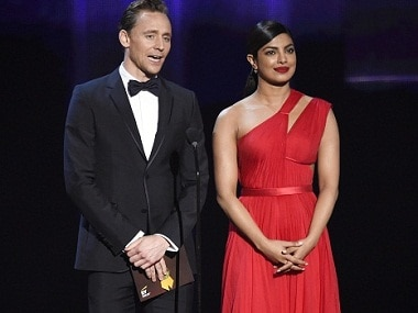 Tom Hiddleston and Priyanka Chopra during the 68th Primetime Emmy Awards on Sunday at the Microsoft Theater in Los Angeles. AP