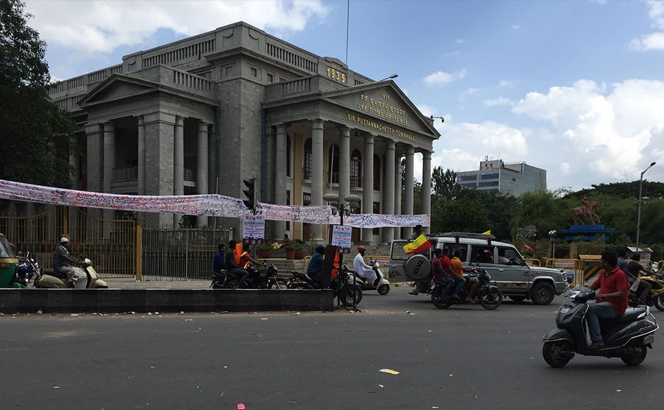 Bengaluru Town hall was also relatively deserted with occassional spurts of protests against the government's decission to comply with the Supreme Court order and release water of the Cauvery river. Firstpost / Janaki Murali