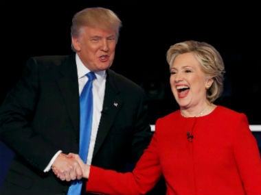 Donald Trump (left) with Hillary Clinton. Reuters