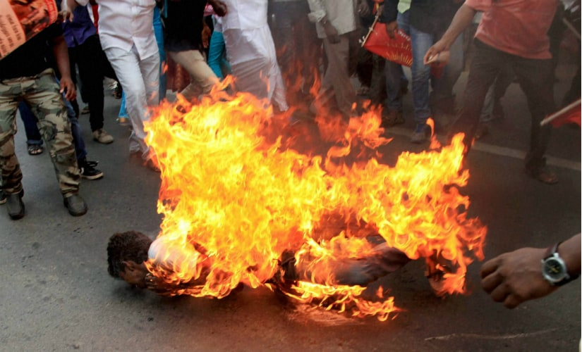 Vignesh when he immolated self in Chennai on Thursday. PTI