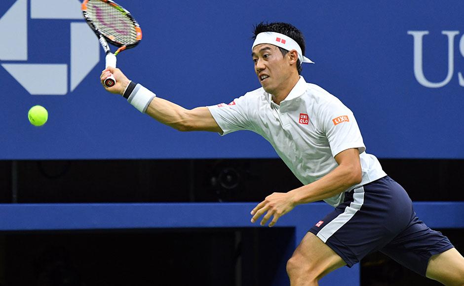 Sept 9, 2016; New York, NY, USA; Kei Nishikori of Japan playing Stan Wawrinka of Switzerland on day twelve of the 2016 U.S. Open tennis tournament at USTA Billie Jean King National Tennis Center. Mandatory Credit: Robert Deutsch-USA TODAY Sports - RTSN247