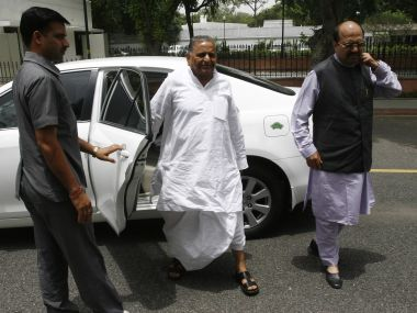 A file image of Samajwadi Party supremo Mulayam Singh Yadav with recently appointed national general secretary of party Amar Singh. Reuters