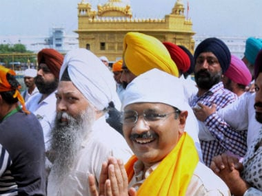Delhi CM Arvind Kejriwal at the Golden Temple. PTI