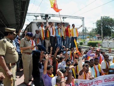 Protests in Karnataka against the SC's order to release water to Tamil Nadu. PTI