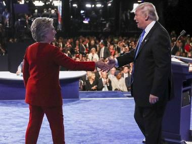 Democratic presidential nominee Hillary Clinton shakes hands with Republican presidential nominee Donald Trump after the presidential debate. AP