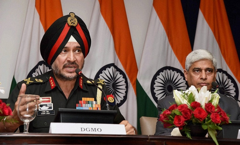 Director-General Military Operations (DGMO), Ranbir Singh and MEA spokesperson Vikas Swarup at the press briefing on Thursday. PTI