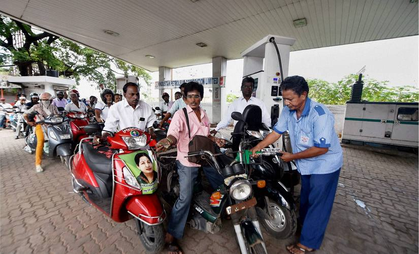 Long queues are seen at a fuel station during the day-long bandh called by various parties over Cauvery water issue in Chennai on Friday. PTI