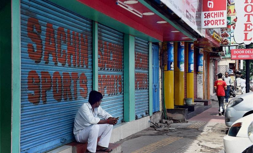 Closed shops during a day-long bandh called by various parties over Cauvery water issue in Chennai on Friday. PTI