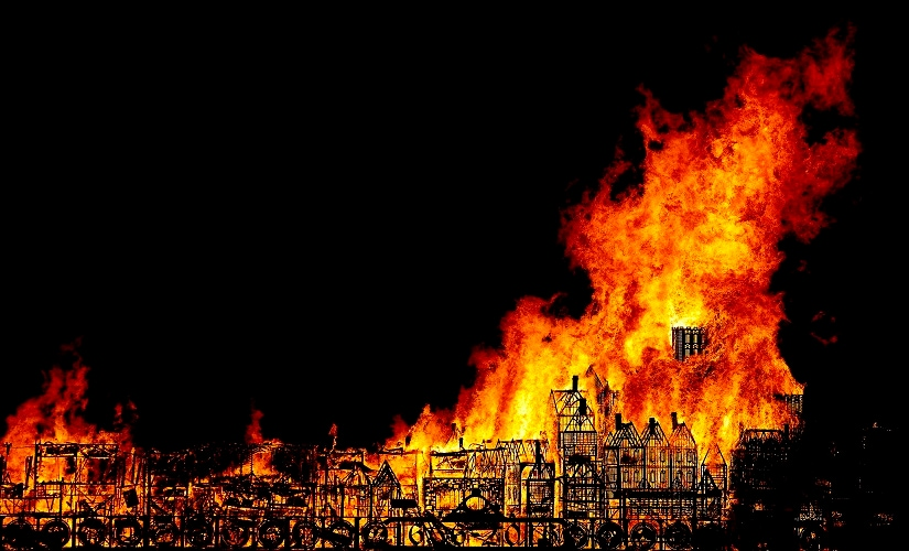 A 120-metre long sculpture of the 17th-century London skyline is set alight in a retelling of the story of the Great Fire of London in 1666. AP
