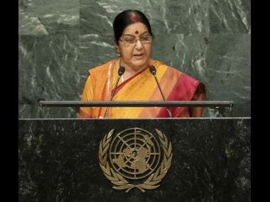 Sushma Swaraj, Minister of External Affairs for India, speaks during the 71st session of the United Nations General Assembly in New York. PTI
