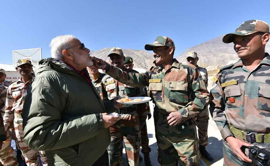 Amid tension on the border with Pakistan, PM Modi saluted the valour of the armed forces and lauded their sacrifice while dedicating the festival of Diwali to them. (Photo: Twitter @narendramodi)